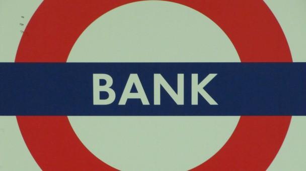Panneau de la station de métro Bank à Londres